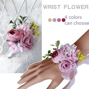 IPOPU Wrist Corsage White Rose Silk Flower Cuff Bracelets Bridesmaid Buttonhole Boutonniere Flower Marriage Wedding Accessories