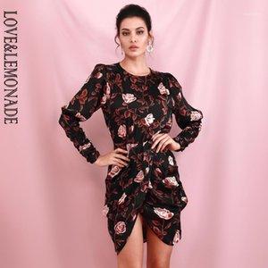 Love Lemonade Round Neck Brown Print Open Back Long Sleeve Cross Fit Mini Dress 2020SS LM812261