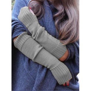 Wholesale-Fashion Women's Warm Elegant Long Gloves Simplicity Pure Color Knitted Mittens Stretch Versatile Classic Arm Winter Gloves