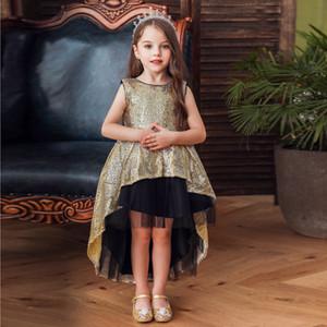 Bambini stile europeo e americano dei bambini del partito di manifestazione del partito per la ragazza Princess Dress Sequins Dress Black Garza Halloween Costume Cosplay
