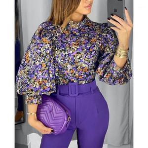 2020 New Fashion Vintage Women Blouse Floral Lantern Sleeve Top1