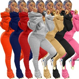 JH Women Stacked Leggings Two Piece Set Sexy Off Shoulder Puff Sleeve Backless Hoodie Top With Pants Tracksuit Outfits