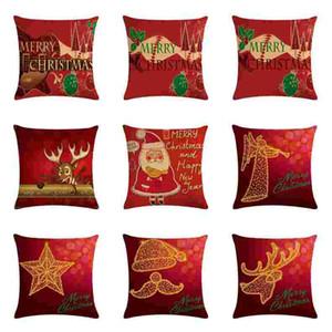 NEW Christmas Pillow Case Cover Throw Sofa Cushion Fashion Linen Pillowcase Santa Claus Cushion Cover Xmas Gift Home Decor 45*45cm FWA2641