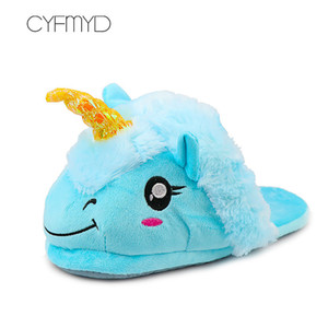 Fur slippers Women Home Shoes cheap Hot Unicorn slippers flats Winter Plush Indoor shoes Bedroom Slides 201203