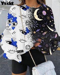 YSKKT Толстовка женщин красочные пуловерные топы осень зима модные уличные одежды негабаритная свободная рубашка пуловер толстовки 2020 Q1217