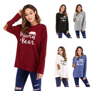 Inglés Letter Imprimir Camisa para mujer Multi Color Mamá Bear Cuello redondo Manga Larga Parches Camisetas Ladys Otoño Invierno Moda Tshirt 25yl L2