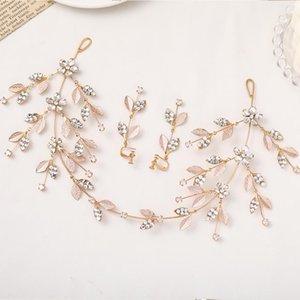 Hoja Rhinestone Gold Headbands Pendientes Conjuntos 2 PCS Long Metal Tiara Hairbands Crowns Boda Novia Accesorios para el cabello Vine Pelo