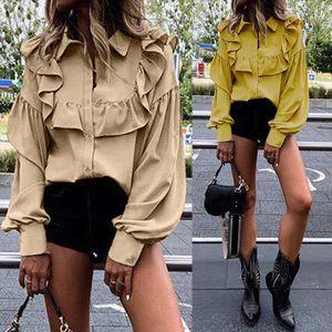 ZANZEA 2020 Spring Long Sleeve Shirts Fashion Womens Ruffle Blouse Female Casual Lapel Tunic Button Blusas Plus Size Tops 5XL 7