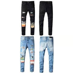 Men Jeans New Fashion Mens Stylist Black Blue Jeans Skinny Ripped Destroyed Stretch Slim Fit Hop Hop Pants With Holes For Men