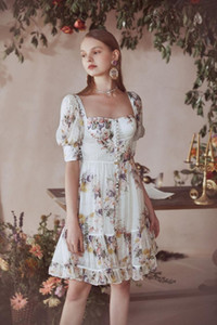 Young can sweet salt can be small first love Hepburn Square collar rouje flowers sweet dress summer dress
