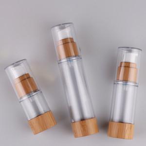 Nachfüllbare Doppelwand Acryl Airless Serum Pumpe Flasche 30ml Bambusboden, leerer 15 ml 50ml Airless Pumpe Sonnencreme Lotion Flasche Freeship