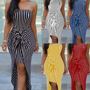 Fashion Women Strapless Mini Dress Plus Size Tube Top Long Striped Sundress Ladies Vintage Sleeveless Bodycon Bow Dresses