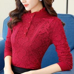 2019 Women Long Sleeve Lace Shirt Blouses Feminine Stand Bottom Tops Blouse Winter Autumn Plus Size 4XL 5XL