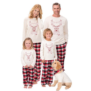 INS 2020 new christmas family pajamas mommy and daughter matching outfits long sleeve T shirt+trousers 2pcs set kids pajamas sleepwear B3054
