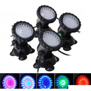 4pcs underwater light waterproof submersible spotlight with 36-led bulbs color changing spot light for aquarium garden TFSbp