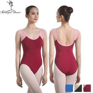 Adult leotard ballet costumes for girls cotton lycra gymanstics leotards dance clothes with mesh burgundy CS03311