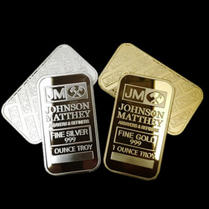 10 pcs Non Magnetic Amerian coin JM Johnson matthey 1 oz Pure 24K real Gold silver Plated Bullion Bar with different serial number