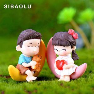 2 unids luna amante figuras niña niño datación en miniatura figurilla boda decoración muñeca hadas jardín estatua regalo casero moss jardín