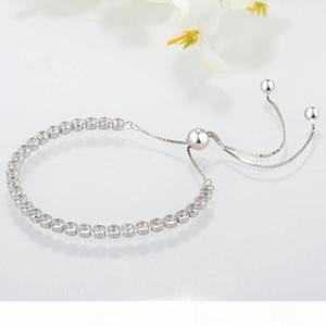 Women Sterling Silver Bracelets Clear CZ Diamond Adjustable Size Shining Crystal Bracelet Fit Pandora Jewelry Womens Valentine's Day gi