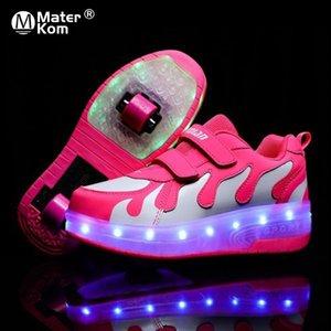 Размер 28-42 Световые кроссовки с роликом для детей для детей USB зарядки светящиеся детские туфли на коньках на двойных колесах с огнями Y201028