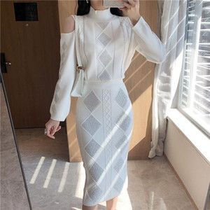 2020 sweet hot rhinestone knitted sweater + high waist bag hip half body knitted two-piece suit women 1019