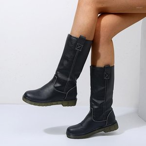 2020 Mujeres Leahter Knee High Boots Fashion Dobling Slip On Winter Boots High Casual Tacones bajos Largas Slim Ladies1