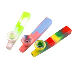 Lebensmittelgrad Silikonrauchrohre Bunte Tarnung Geruchlose Glasschüssel Umweltfreundliche Raucherrohre Tragbare Cigeratte Zubehör VTKY2236