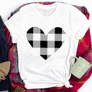 Plaid Love Heart Nouvel An Sleeve Sleeve Tees pour Femmes Lady Joyeux Noël Print Tshirt Vêtements Top Graphique Femelle T T-shirt