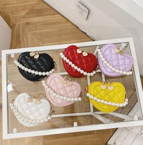 Dolce Girls Love Heart Princess Bag Designer di lusso San Valentino Bambini perla catena borse per bambini Bambini Catena metallica Messenger Bag A5591