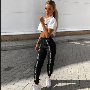 Pantaloni anti-pantaloni di Houzhou Pantaloni da donna Hip Hop Losed Jogger Mujer Sporting Elastico Elastico Nero Casual Combat Streetwear Fashion Y1119
