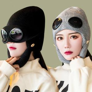 Очки Beanie вязаные шляпы набор холодных заболеваний шляпа пилотные солнцезащитные очки лыжная шапка держите теплую вязаную шляпу открытый спорт вязание крышки партии шляпы DHC4306