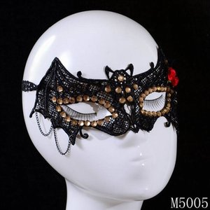 Black Women Lace Eye Mask Carnival Masks Masquerade Halloween Venetian Costumes Bat Shape Rhinestone Red Flower Jewelry