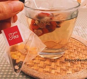 5.8 * 7cm Pyramid Teebeutel Filter Nylon Teebeutel Einzelsaite mit Label-Transparent Leeren Teebeutel