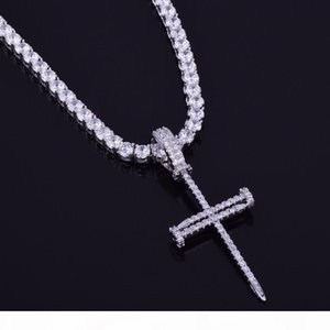 Nail Cross Pendant Gold Silver Copper Material Iced Cross CZ Necklace With Tennis Chain Fashion Hip Hop Jewelry
