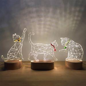 Modern Yaratıcı 3D Katı Ağaç Hediyelik Usb Güç Kaynağı LED Kedi Gece Işığı Hediye Hanfeng Ev Sevgililer Günü