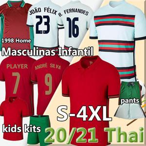 Portugal Retro 1998 99 Portogallo Soccer Jerseys Ronaldo 2020 European Cup National Ruben Neves Joao Felix Bernardo Men Kids Kit Camicie da calcio
