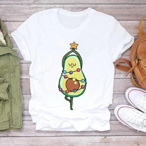 Women Christmas Avocado Funny Cute Printing 90s Holiday Print Lady Tshirt Ladies Graphic T shirts Top Female Tee T Shirt