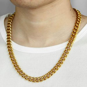 6 9 mm Stainless Steel Curb Cuban Link Chain Necklace for Men Boys Gold Silver Color Necklaces Fashion Wholesale Jewelry KNM174A