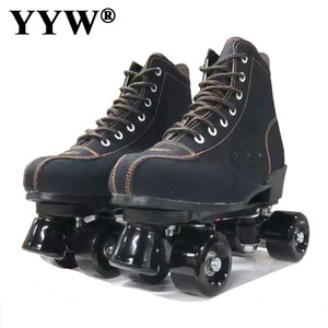 2020 Girls Europe Size Flashing Women PU Leather Adult Kids Quad Roller Skates Skating Sliding Sneakers 4 wheels Training Gym YW