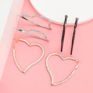 Find Me Heart Alloy Hoop Earrings for Women Geometric Simple Rhinestone Earrings 2020 New Fashion Jewelry Accessories