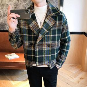 Wool Trench Coat Hommes Veste Abrigo Largo Hombre Woolen Coat Men Short Erkek Mont Korean Slim Plaid Jacket Mens Tweed