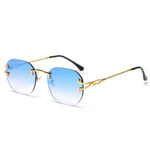 Veshion Rimless Mirror Glasses for Women Retro Style Blue Red Uv400 Square Frame Sunglasses for Men Metal Gold Framless
