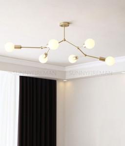 Новая молекулярная люстра Nordic Creative Creative Gold Free Fafed Multi Head Interior Освещение Спальня Подвеска Лампы Кофейня Огни Огни Hunseliers