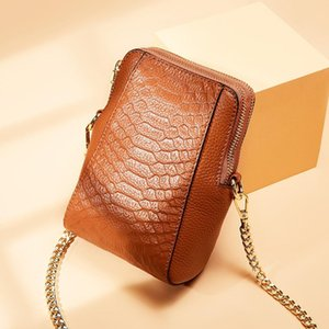 The new Korean version of the crossbody bag top layer cowhide shoulder bag chic mobile wallet mini chain women's