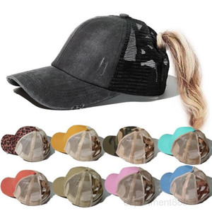 Cap Leopard Ponytail Hats Messy Bun Baseball Solid Color Summer Casual Hip Hop Outdoor Sport Hat Party Caps Supplies OWC3657