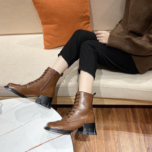 Brand Women's Shoes Rubber Boots Round Toe Boots-Women Fashion Rain Low Ladies Mid Calf Riding Autumn 2020 Rock Mid-Calf