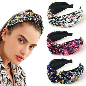 New Fashion Women Hairband Wide Shining Fish Scale Sequins Bohemia Wide Side Headband Center Knot Turban Adult Hair Accessories