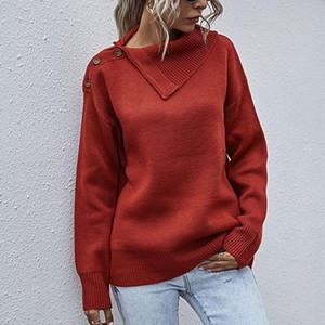 Hombro del botón de solapa lateral Lucyever Jersey de punto para mujer de invierno suéteres entreabierta cuello informal suéter de la señora más el tamaño XL Jumper