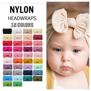 Bebek Kız Türban Kafa Yumuşak Naylon Hearwraps Yay Düğüm Kafa Bantları Sıkı Saç Bantları Çocuk Kız Moda Saç Aksesuarları E121708