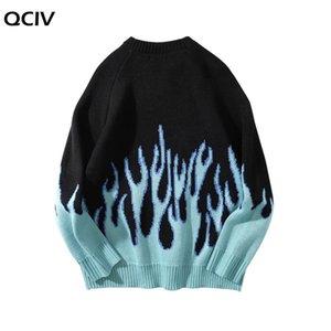 Мужские свитера свитер мужская стрит одежды ретро пламя шаблон хип-хоп осенний потягивание по спандексу о-шеи негабаритны пара вскользь